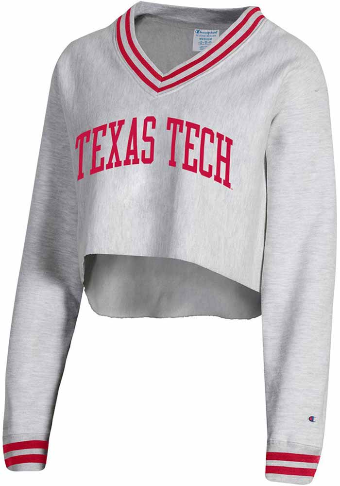 Champion Texas Tech Red Raiders Womens Reverse Weave Crop V Neck Grey Crew Sweatshirt