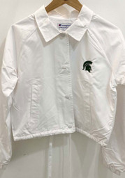 Michigan State Spartans Womens Champion Crop Coaches Light Weight Jacket - White