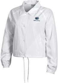 Penn State Nittany Lions Womens Champion Crop Coaches Light Weight Jacket - White