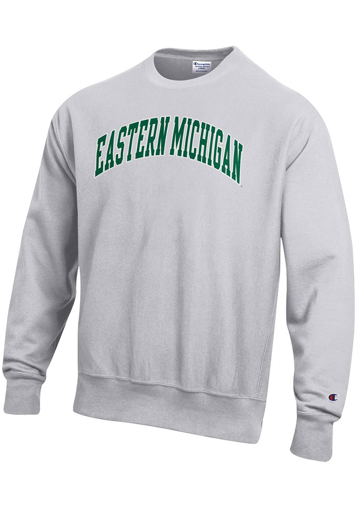 Champion Eastern Michigan Eagles Mens Grey Reverse Weave Long Sleeve Crew Sweatshirt - Image 1