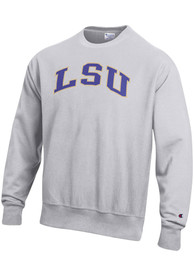 LSU Tigers Champion Reverse Weave Crew Sweatshirt - Grey