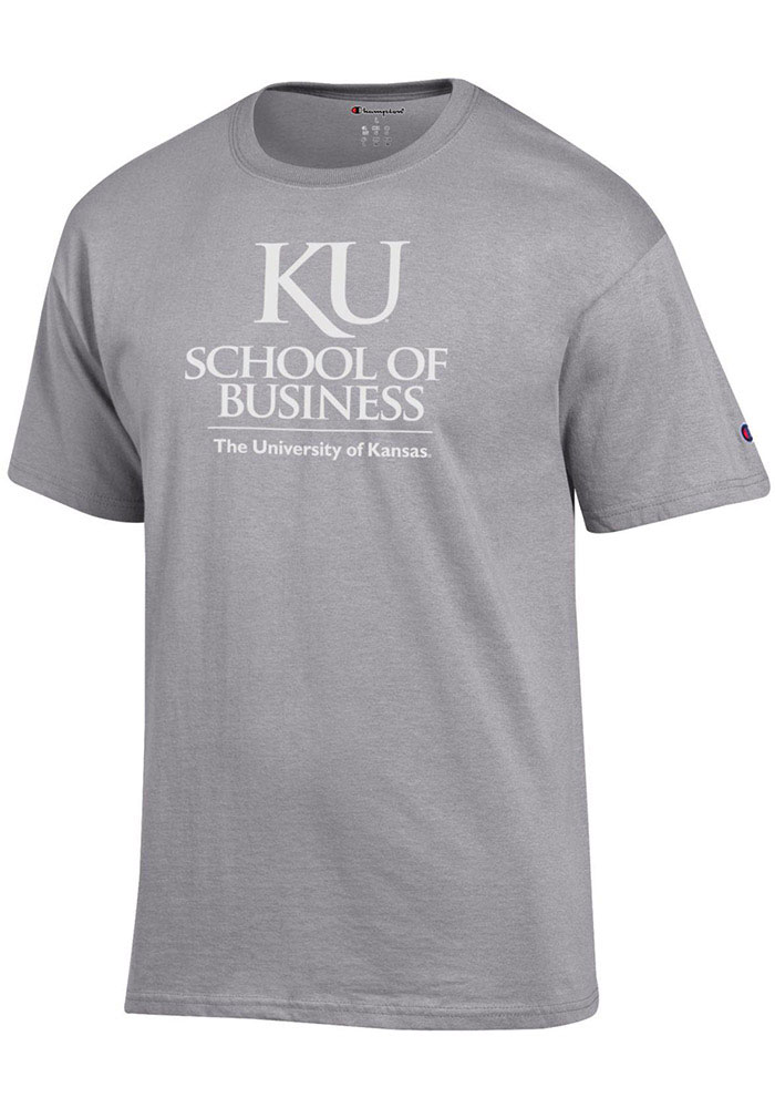 Kansas Jayhawks Champion School of Business T Shirt - Grey