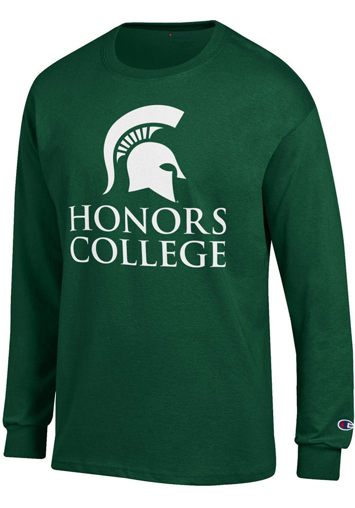 Champion Michigan State Spartans Green Honors College Long Sleeve T Shirt - Image 1