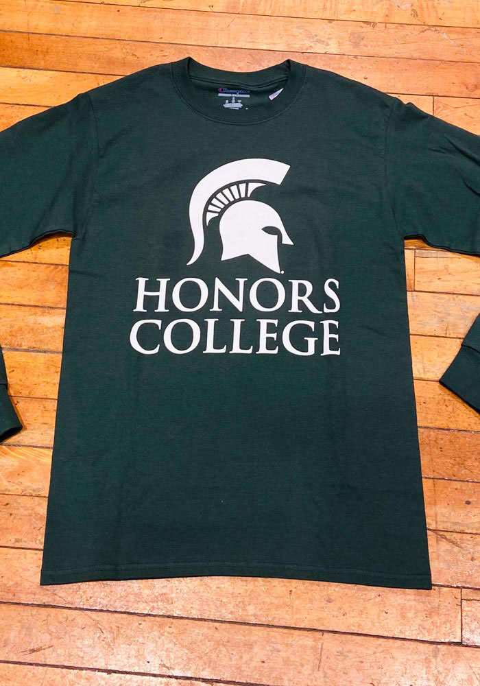 Champion Michigan State Spartans Green Honors College Long Sleeve T Shirt - Image 2