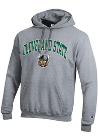 Cleveland State Vikings Champion Powerblend Arch Mascot Hooded Sweatshirt - Grey
