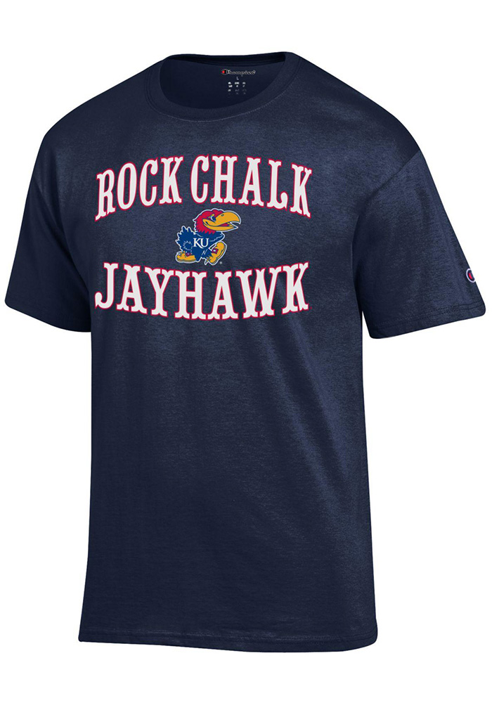 Champion Kansas Jayhawks Navy Blue Circus Slogan Short Sleeve T Shirt - Image 1