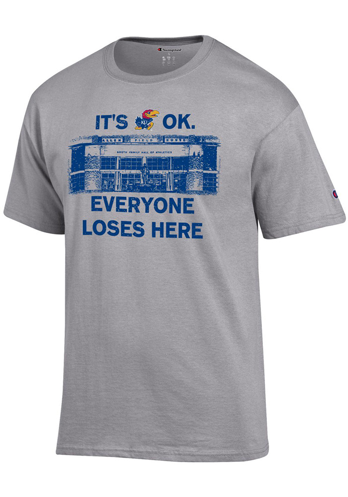 Kansas Jayhawks Champion Its Okay T Shirt - Grey