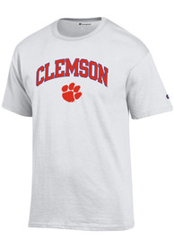 Clemson Tigers Champion Arch Mascot T Shirt - White