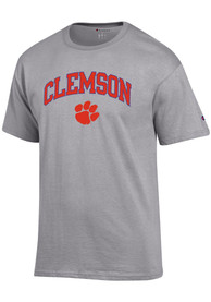 Clemson Tigers Champion Arch Mascot T Shirt - Grey
