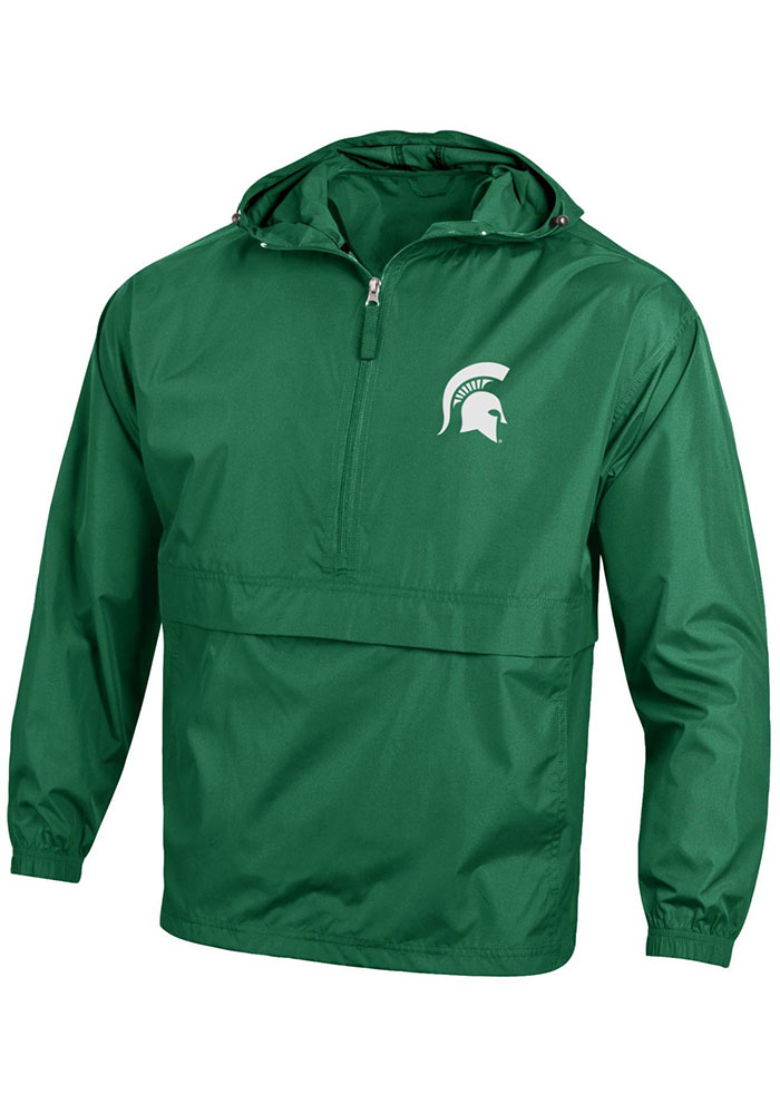 Champion Michigan State Spartans Mens Green Spartan Logo Packable Light Weight Jacket - Image 1