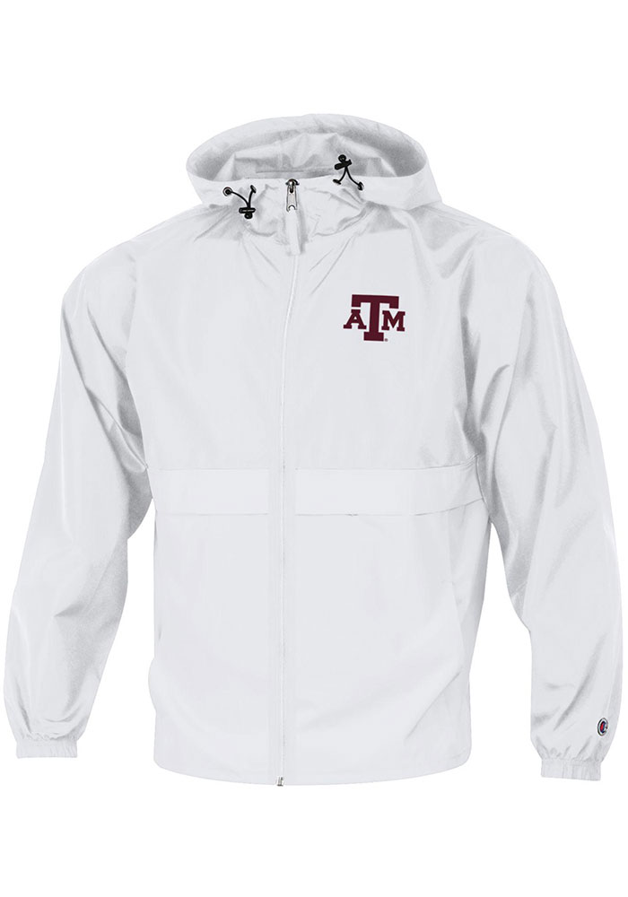 Champion Texas A&M Aggies Mens White Primary Logo Packable Light Weight Jacket - Image 1