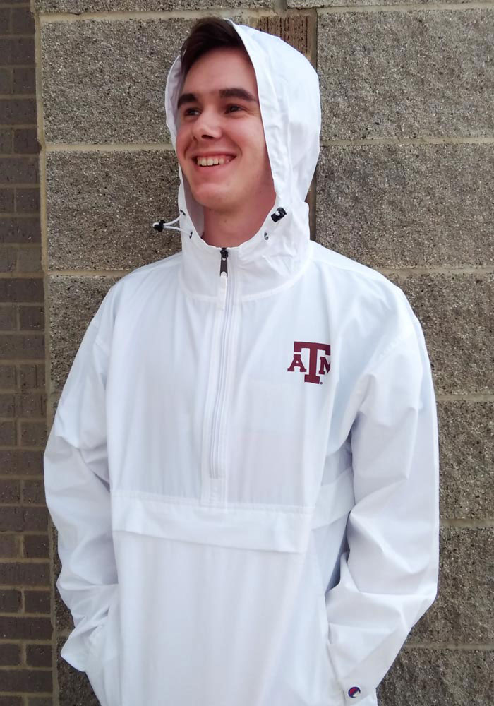 Champion Texas A&M Aggies Mens White Primary Logo Packable Light Weight Jacket - Image 2