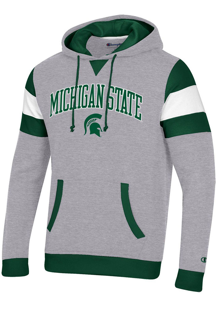Champion Michigan State Spartans Mens Grey Super Fan Pullover Long Sleeve Hoodie - Image 1