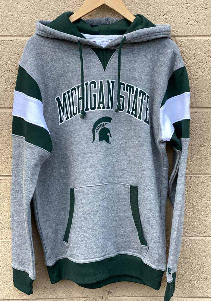 Champion Michigan State Spartans Mens Grey Super Fan Pullover Long Sleeve Hoodie - Image 2