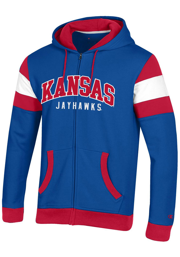 Champion Kansas Jayhawks Mens Blue Super Fan Long Sleeve Full Zip Jacket - Image 1
