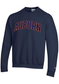 Auburn Tigers Champion Powerblend Tackle Twill Crew Sweatshirt - Navy Blue