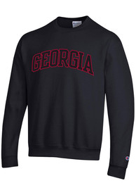 Georgia Bulldogs Champion Powerblend Tackle Twill Crew Sweatshirt - Black