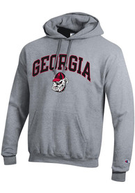 Georgia Bulldogs Champion Powerblend Arch Mascot Hooded Sweatshirt - Grey