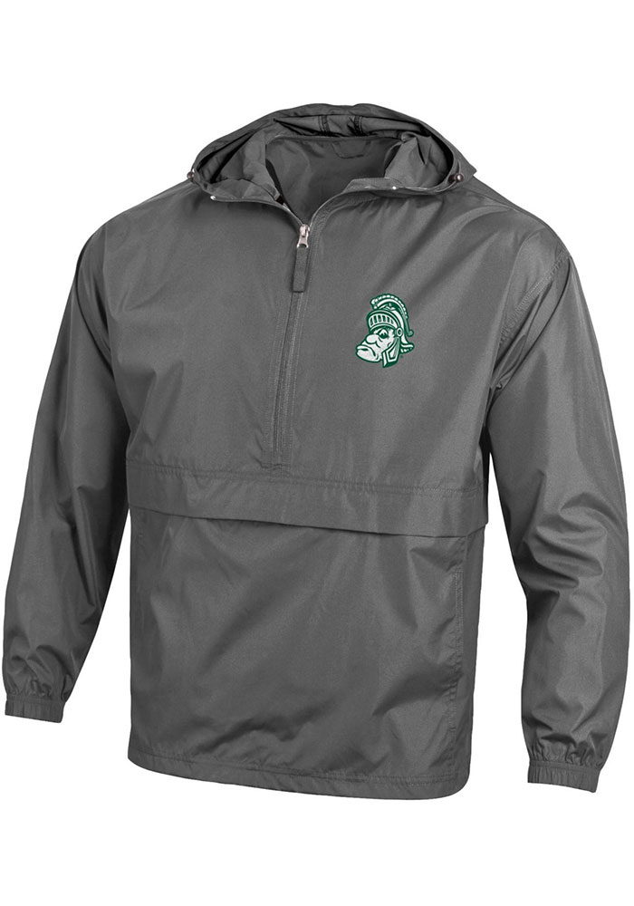 Champion Michigan State Spartans Mens Charcoal Packable Light Weight Jacket - Image 1
