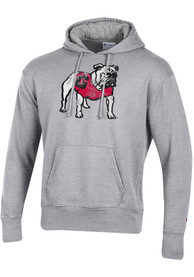Georgia Bulldogs Champion Fleece Distressed Mascot Hooded Sweatshirt - Grey