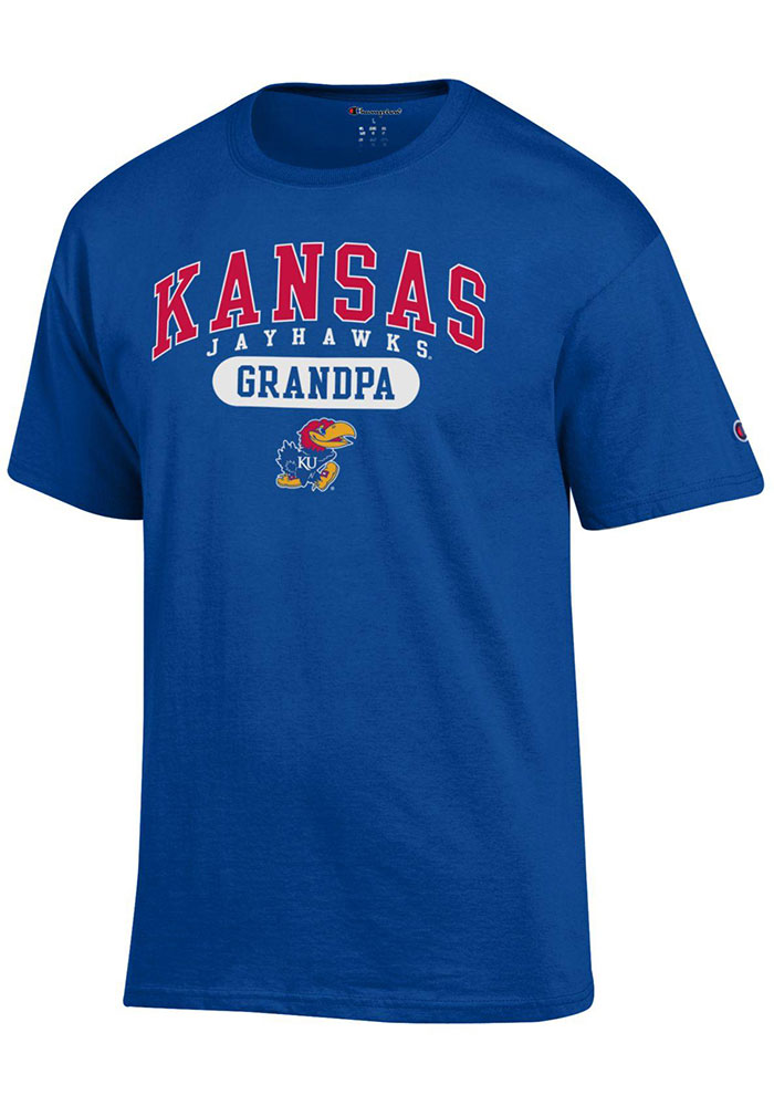 Kansas Jayhawks Champion Grandpa Graphic T Shirt - Blue
