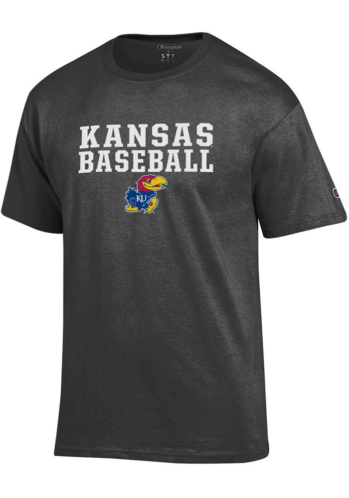 Kansas Jayhawks Champion Baseball T Shirt - Charcoal