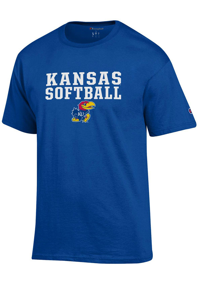 Kansas Jayhawks Champion Softball T Shirt - Blue