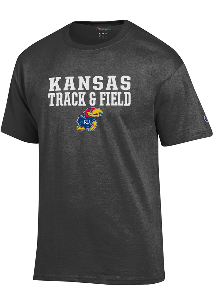 Champion Kansas Jayhawks Charcoal Track and Field Short Sleeve T Shirt - Image 1