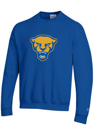 Pitt Panthers Champion Panther Head Crew Sweatshirt - Blue