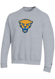 Pitt Panthers Champion Panther Head Crew Sweatshirt - Grey