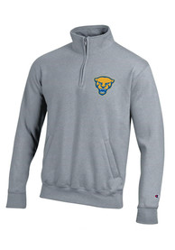 Pitt Panthers Champion Panther Head 1/4 Zip Pullover - Grey