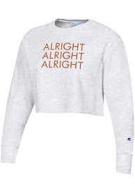 Texas Women's Silver Grey Repeating Alright Cropped Long Sleeve Crew