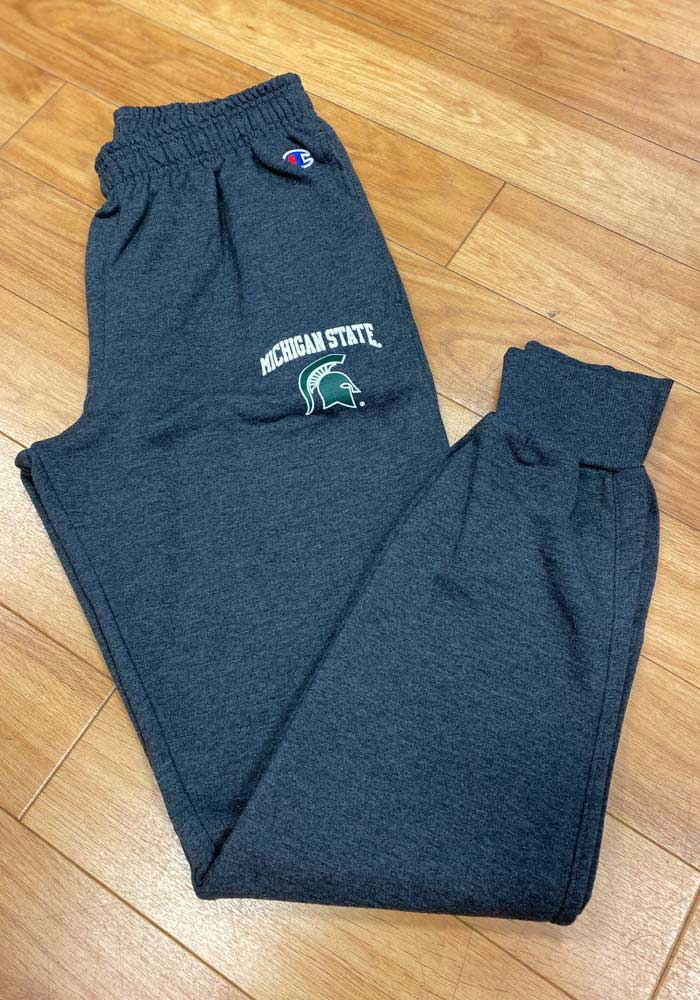 Champion Michigan State Spartans Mens Charcoal Powerblend Jogger Sweatpants - Image 2