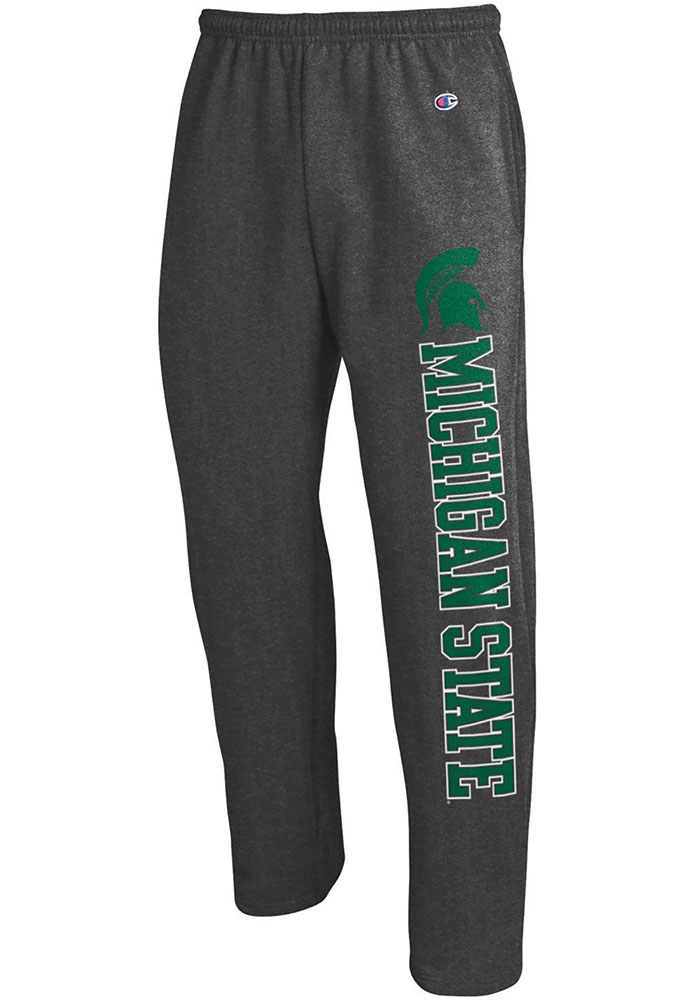 Michigan State Spartans Champion Powerblend Open Bottom Sweatpants - Charcoal