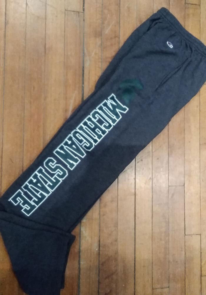 Champion Michigan State Spartans Mens Charcoal Powerblend Open Bottom Sweatpants - Image 2