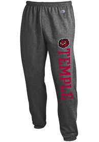 Temple Owls Champion Powerblend Closed Bottom Sweatpants - Charcoal
