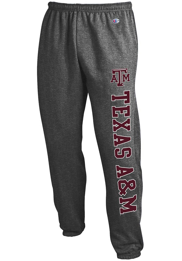 Champion Texas A&M Aggies Mens Charcoal Powerblend Closed Bottom Sweatpants - Image 1