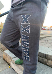 Champion Xavier Musketeers Mens Charcoal Powerblend Closed Bottom Sweatpants