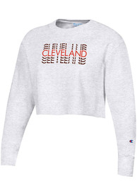 Cleveland Women's Silver Grey Repeating Wordmark Cropped Long Sleeve Crew