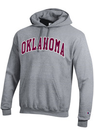 Oklahoma Sooners Champion Powerblend Twill Arch Name Hooded Sweatshirt - Grey