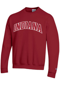 Indiana Hoosiers Champion Powerblend Twill Crew Sweatshirt - Crimson