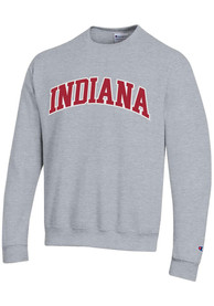 Indiana Hoosiers Champion Powerblend Twill Crew Sweatshirt - Grey