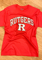 Champion Rutgers Scarlet Knights Red Arch Mascot Short Sleeve T Shirt