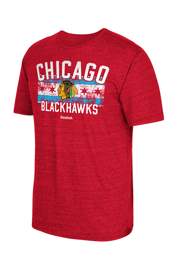 Adidas Chicago Blackhawks Red City Flag Short Sleeve Fashion T Shirt - Image 1