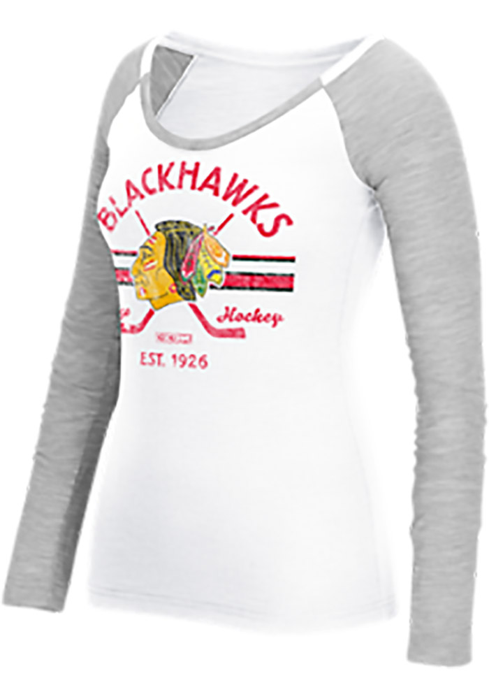 Reebok Chicago Blackhawks Womens White Stripe Stick Distressed LS Tee - Image 1