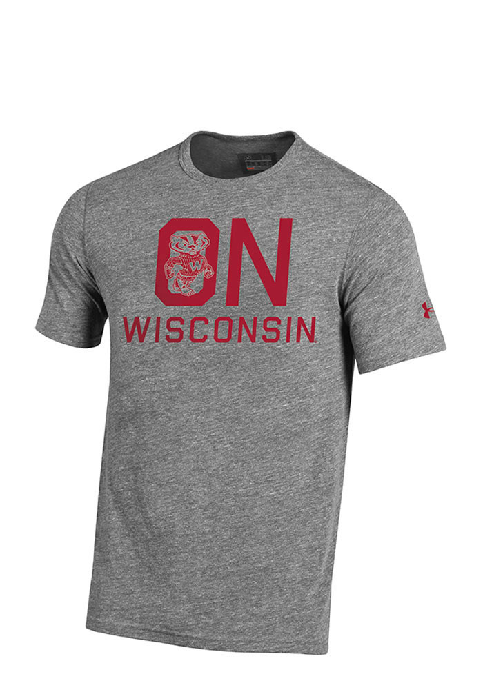 Under armour wisconsin badgers mens grey iconic short for Mens wisconsin badger shirts