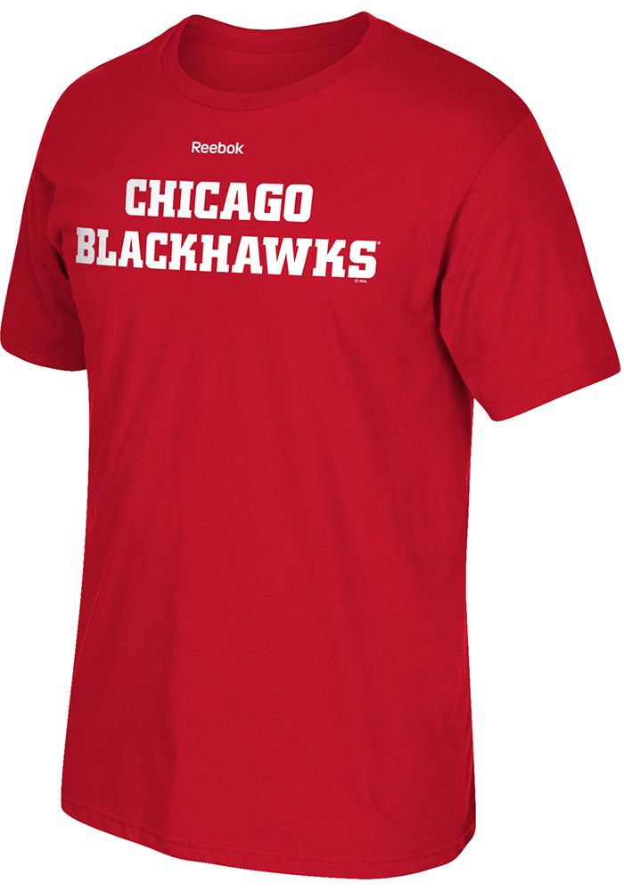 Reebok Chicago Blackhawks Red Rally Loud Short Sleeve T Shirt - Image 1