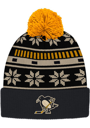 Reebok Pitt Penguins Black Cuffed Knit Hat