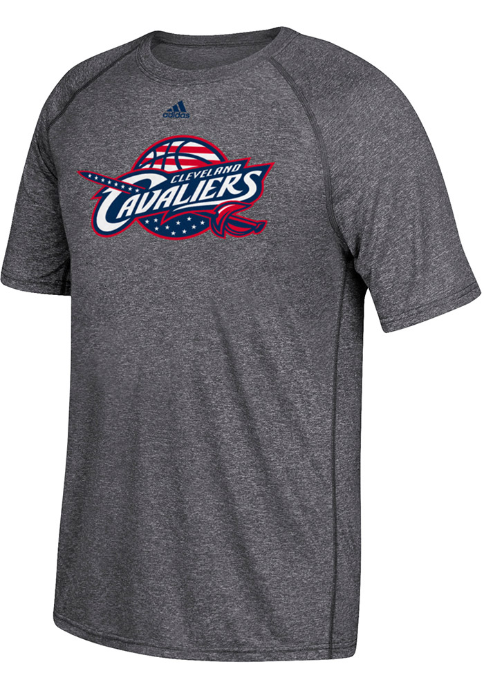 Adidas Cleveland Cavaliers Mens Grey Hoops for Troops Long Sleeve T Shirt - Image 1