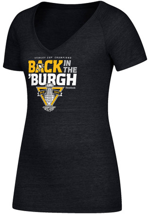 Reebok Pittsburgh Penguins Womens 2017 Stanley Cup Champions V-Neck